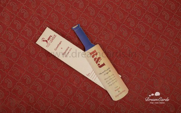 Cricket Bat wedding card