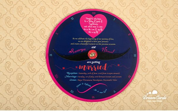 Mustache Bindhi and Clock Invitation