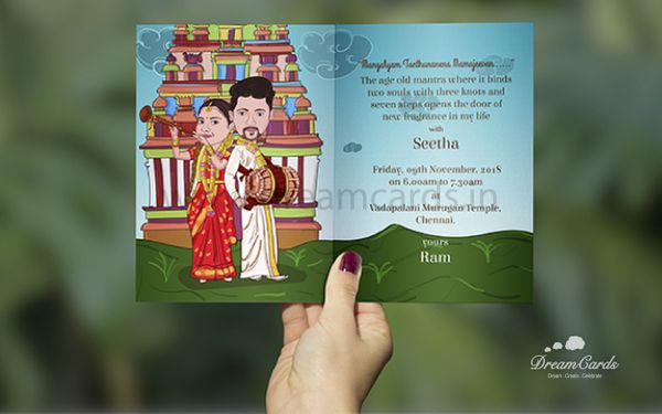 Traditional Caricature Wedding Card
